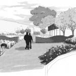 Vue d'ensemble et perspectives du futur jardin.